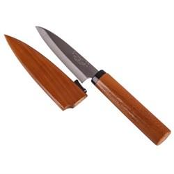 Нож для фруктов с деревянным чехлом 9.5 см, серия Natural Wood - фото 6643