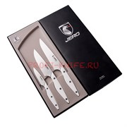 Набор JERO Coimbra Corian White из 3х ножей Овощной, Универсал, Шеф в подарочной коробке