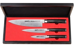 """Набор из 3 кухонных стальных ножей """"Поварская тройка"""" Samura Mo-V SM-0220/G-10"""